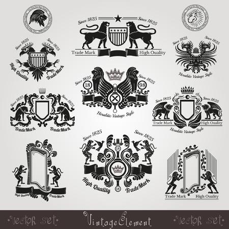 silueta tigre: Establecer etiquetas heráldicos Silueta de la vendimia con el patrón y los animales, tigre león águila leopardo panter cabeza de león pájaro