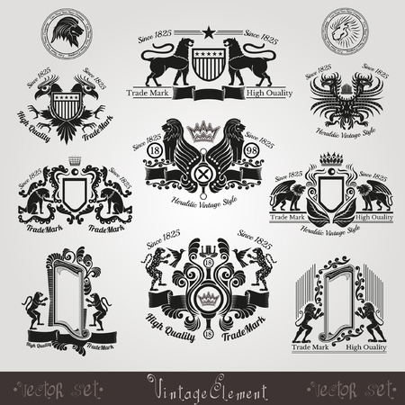 leopard: set vintage silhouette heraldic labels with pattern and animals, eagle lion tiger panter leopard bird lion head Illustration
