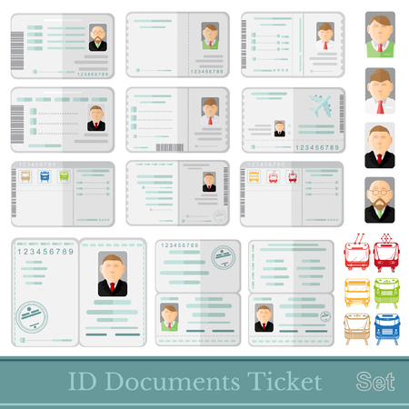 samples: set samples of documents cards tickets and certificates Illustration
