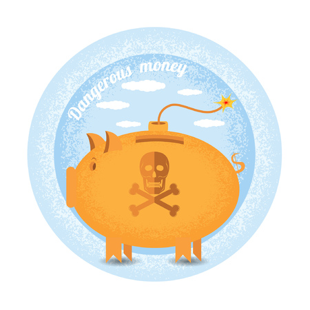 augmentation: dangerous money.Three piggy bank stand like a bomb.Vintage retro style shadow income icon on blue night circle background