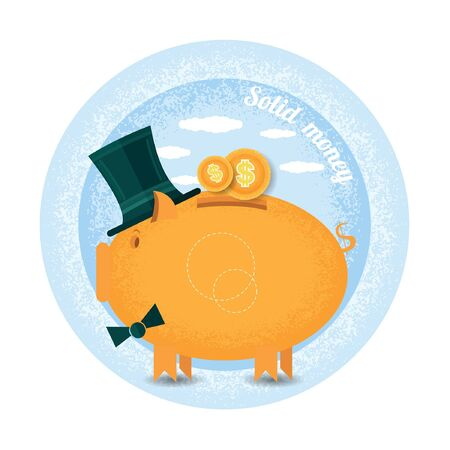 augmentation: stolen money.Three piggy bank with cylinder hat stand with coin.Vintage retro style shadow income icon on blue circle background