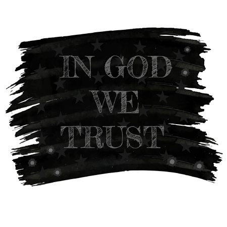 in god we trust: In god we trust slogan in retro style drawing white chalk on red board or american flag with stars and blot