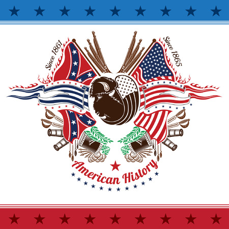american civil war military background color coat of arms with bison head flags and weapons