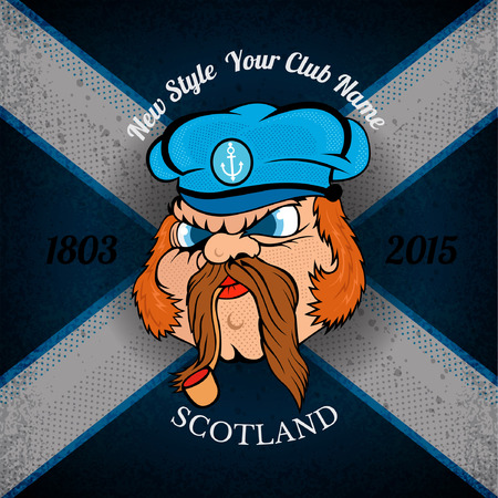 scot: head of Scottish sailor in cap on Schotland flag grunge background.print street style