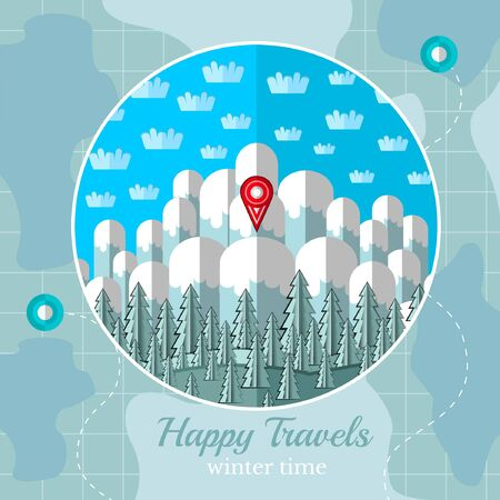 locality: flat background vector map with circle frame with winter mountains forest and sky
