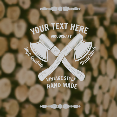 wood craft: carpenter craft style background with cross axes middle on old stack of wood blur photo Illustration