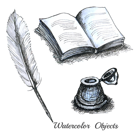 inkwell: set watercolor ols stationary feather book or note inkwell Illustration