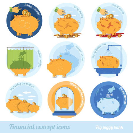 augmentation: flat business concept icon with piggy bank circle financial terms