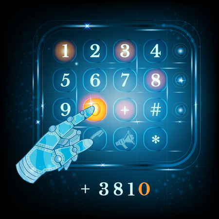 keypad: virtual phone keyboard or keypad and hand pointer.dialing Illustration