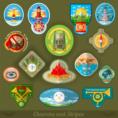 patches: flat set patches of youth tourist or scouts organization