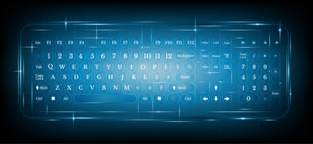 tech: virtual shiny computer pc keyboard or keypad on blue background.dialing
