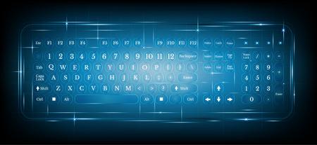 klawiatura: Wirtualna klawiatura komputer pc błyszczące lub klawiatura na niebieskim background.dialing