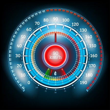 car round abstract shiny speedometer with arrow indicators fuel Vector