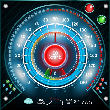 car round abstract shiny speedometer with arrow indicators fuel road weather temperature Vector