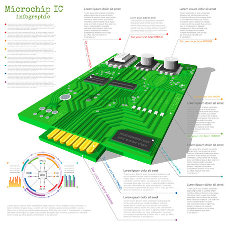 realistic 3d microchip infographic with data chart diagram graph info