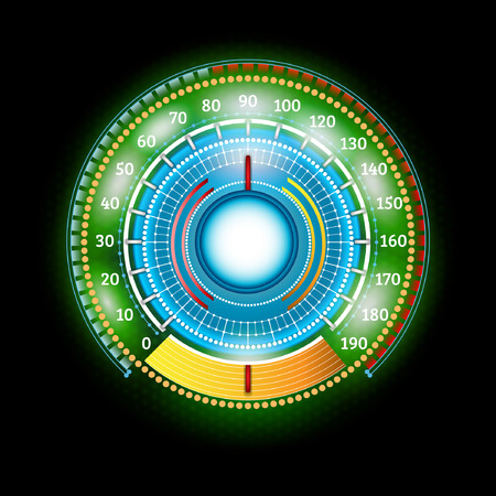 car round abstract green shiny speedometer with arrow indicators Vector