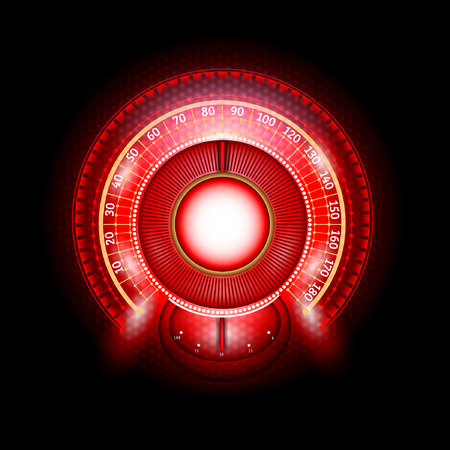 car round abstract red shiny speedometer with arrow indicators Vector