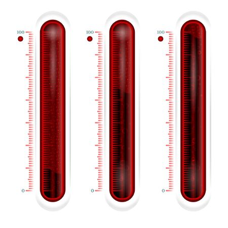 red glass thermometer or battery. battery low full battery half full battery Illustration