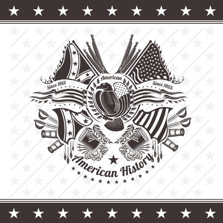 war bird: american civil war military background coat of arms with eagle flags and weapons engraving Illustration