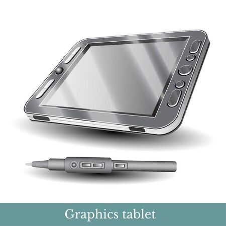 digitizer: relistic graphic tablet with pen isolated on white
