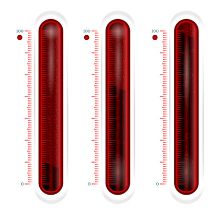 calibrated: red glass thermometer or battery. battery low full battery half full battery Illustration