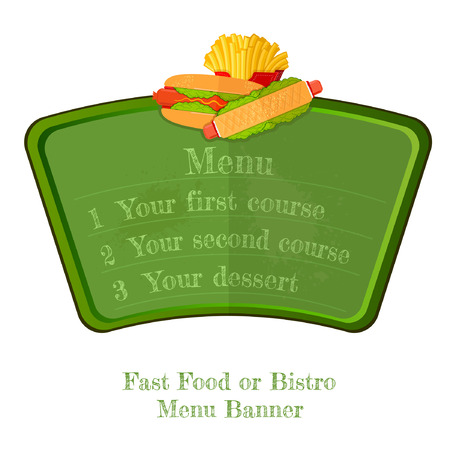 french board: flat fast food green menu board or banner with hot dog and french fries top isolated on white