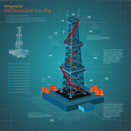 oil pipeline: plan-drawing oil derrick tower or gas rig infographic on blue scheme paper