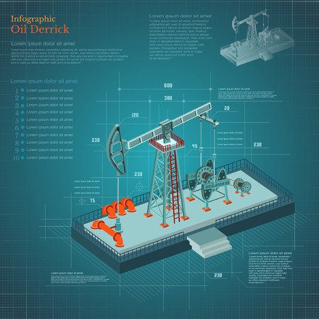 natural gas production: plan-drawing oil derrick tower infographic on blue scheme paper