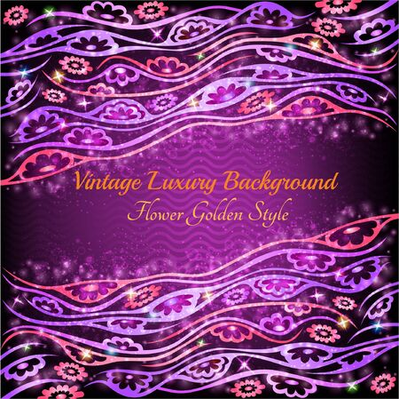 violet background: astratto lucido sfondo floreale viola con piante e fiori