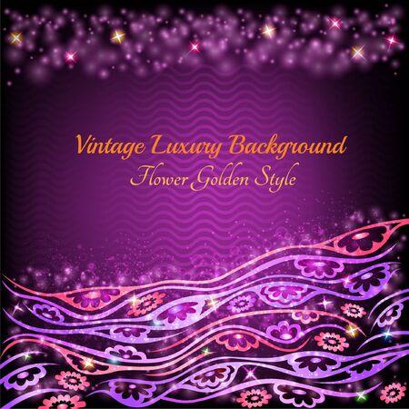 violet background: astratto brillante motivo floreale sfondo viola con fiori piante e polvere lucida stella