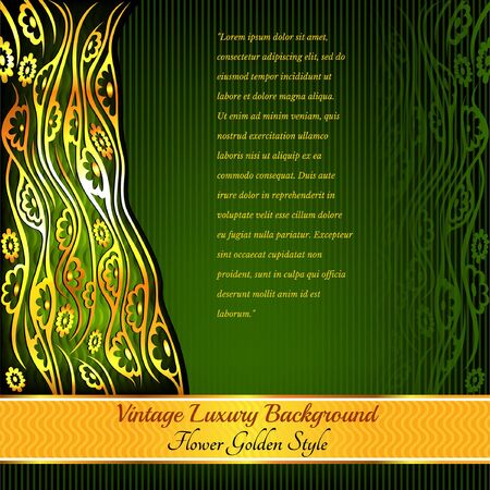 geen: abstract shiny floral pattern geen background with golden plant flower