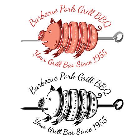 spit: grill slice pork on roasting-jack color and black bbq label Illustration