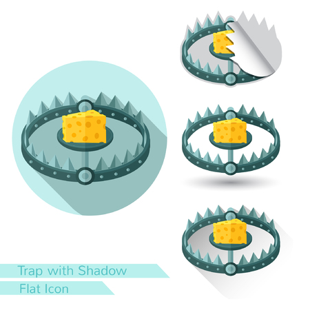 chain food: ftat icon trap with piece of cheese isolated on white with oval  long shadow and folded corner Illustration