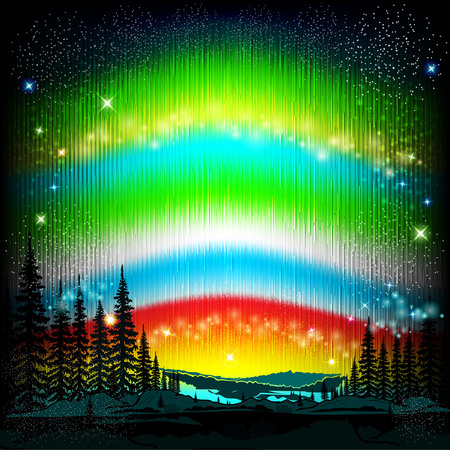 polar lights: northern lights abstract background with skyline and forest silhouette