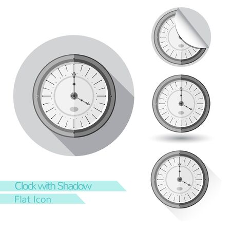 corner clock: flat icon round clock with oval  long shadow and folded corner