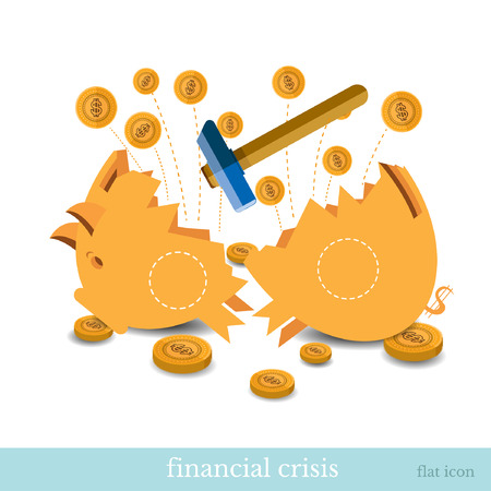 hummer: flat business icon broken piggy bank by hummer. financial crisis