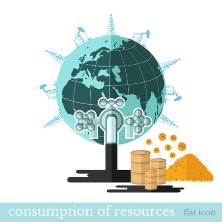 draining: flat financial icon draining resources.Tap draining oil from Earth