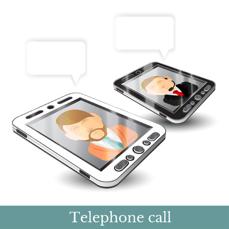 contacting: realistic two Smartphone phone gadget black and white with contacting man