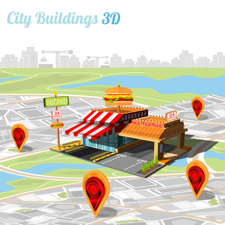 city building: building of fast food and location their on city map