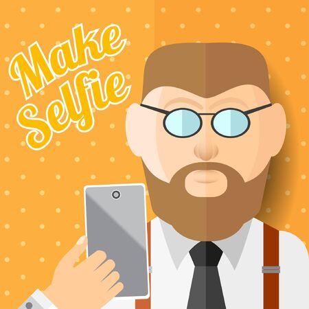 beard man: flat illustration beard man hipster with smartphone phone or gadget make photo of himself.man selfie Illustration
