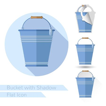 bucketful: flat icon with bucket or pail empty objects on white with oval long shadow and folded corner