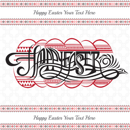ester: Ukrainian easter background with calligraphy Happy Easter and ester egg and folk pattern