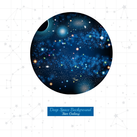 star map: round space with stars planets in space on white background with grey constellation and star map Illustration
