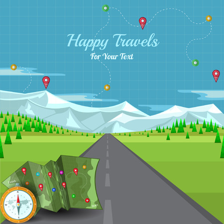 flat background vector road disappearing into the horizon with landscape and compass map mountains and pins