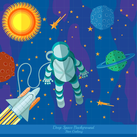 meteorites: flat space background with planets stars spaceman and rocket Illustration