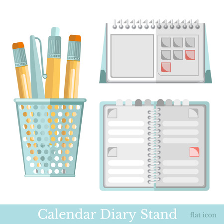 calendar isolated: flat stationery diary calendar isolated on white