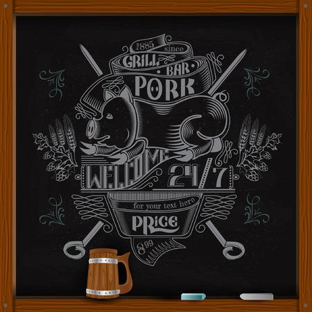hand draw white chalk on board pork on skewer grill bar advertisin or menu