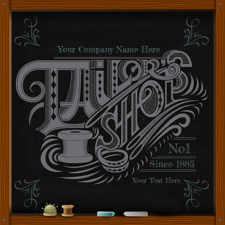 spool: hand draw white chalk on board tailor shop calligraphy text with niddle and spool