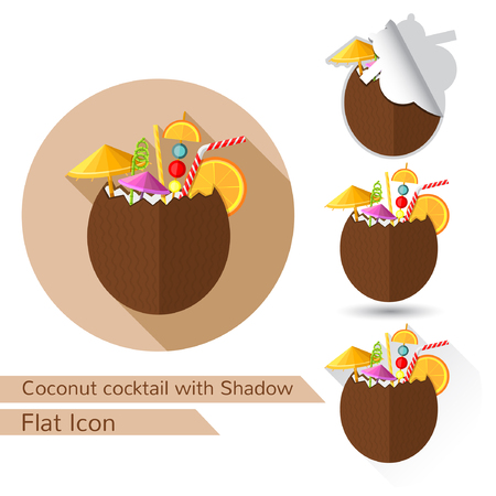 freshens: tropic coconut cocktail flat design with oval long shadow and folded corner
