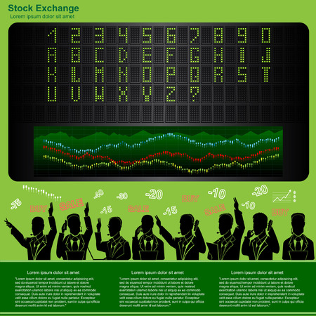 runoff: stock exchange infographic with runoff scoreboard and sample of letter and numbers alphabet and stock workers silhouettes